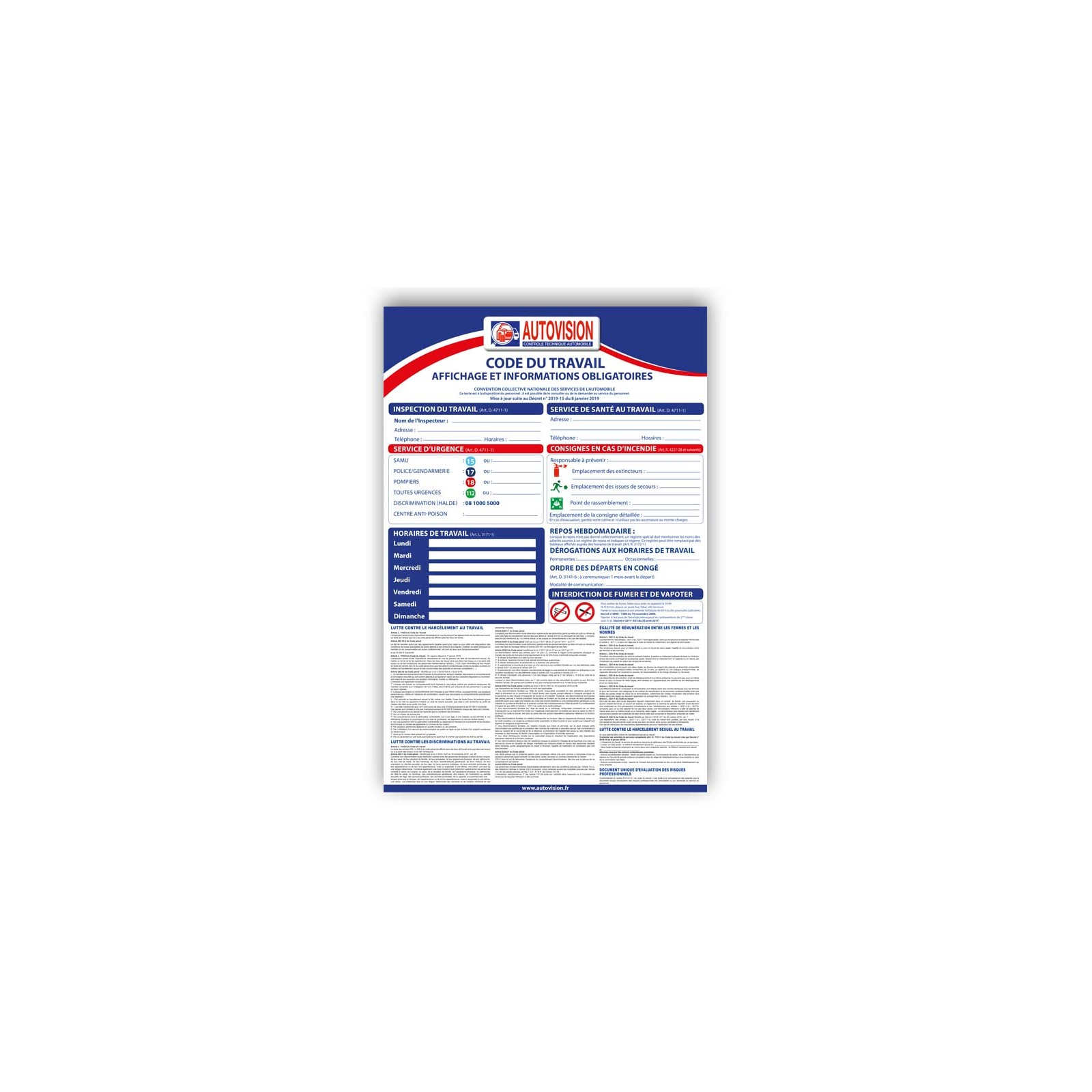 Affiche Code Du Travail Autovision 08 01 2019 Boutique Autovision